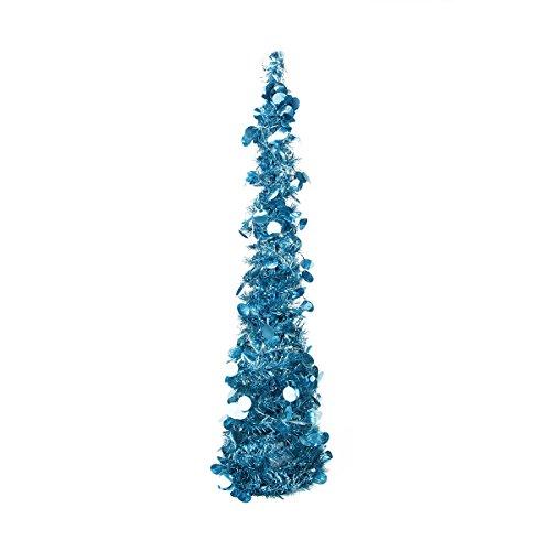 "33"" Pre-Lit Blue Pop Up Artificial Christmas Tinsel Cone Tree - Polar White Led Lights"