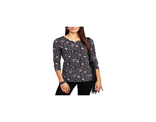 Faded Glory Women's Long Sleeve Peasant Top, Dark Navy Combo, Small 4-6 (Faded Glory Tops compare prices)