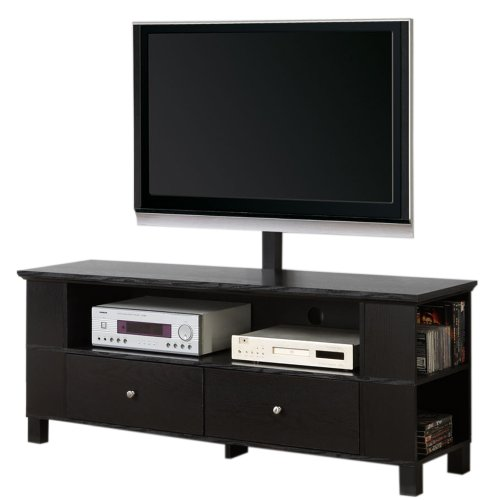 418q02AbLNL 60 Inch Black Wood TV Stand with Storage and Mount