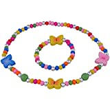Smitco LLC Jewelry Gift Sets for Little Girls - Colorful Stretch Butterfly Necklace and Bracelet in Box