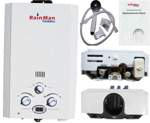 Propane Tankless Water Heater - Rain Man Tankless 6L On-Demand Lpg Gas 2.0 Gpm Digital Temperature Jsd12-6B1-Lpg