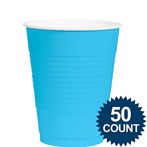 Amscan Big Party Pack 50 Count Plastic Cups, 12-Ounce, Caribbean