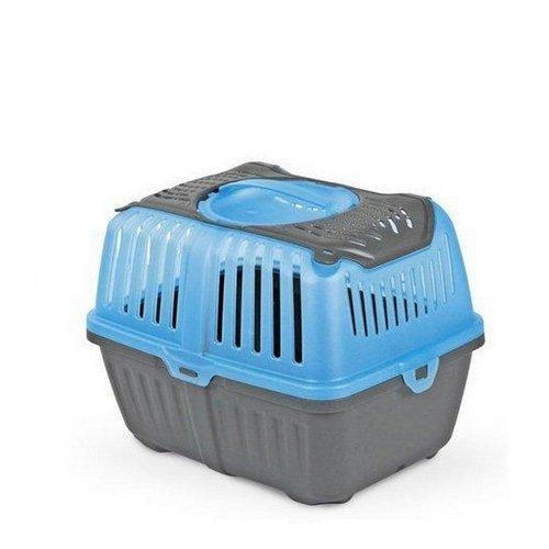 Trasportino Neyo Pet Carrier - Accessorio da viaggio in plastica, con doppia apertura, per roditori, conigli e cuccioli (Azzurro)