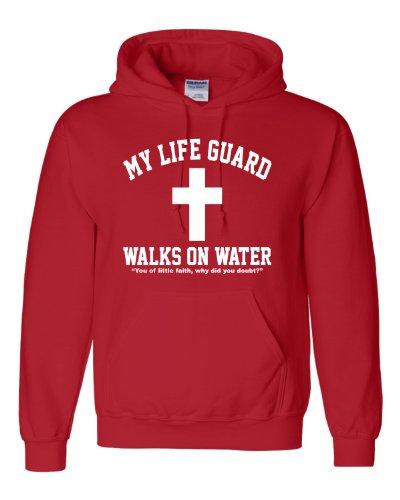 Medium Red Adult My Life Guard Walks On Water Christian Easter Religious Facebook Hooded Sweatshirt Hoodie