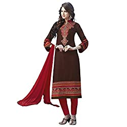 Bhelpuri Women Brown Cotton Dress Material