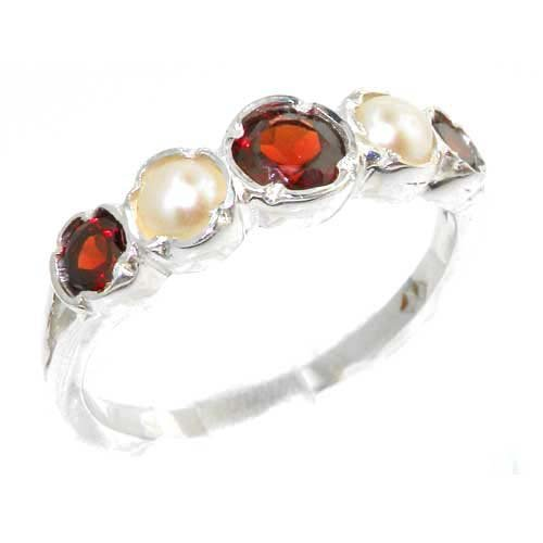 Genuine Solid Sterling Silver Natural Garnet & Pearl Womens High Quality Ring - Size 11.75 - Finger Sizes 4 to 12 Available - Suitable as an Anniversary ring, Engagement ring, High Quality ring, or Promise ring