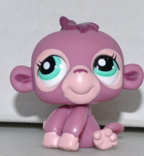 Monkey (Purple, Green Eyes) - Littlest Pet Shop (Retired) Collector Toy - LPS Collectible Replacement Single Figure - Loose (OOP Out of Package & Print) - 1