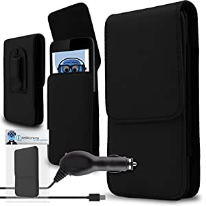 iTALKonline Cubot Z100 Pro Black PREMIUM PU Leather Vertical Executive Side Pouch Case Cover Holster with Belt Loop Clip and Magnetic Closure and 1000 mAh Coiled In Car Charger LED Indicator and Overload Protection