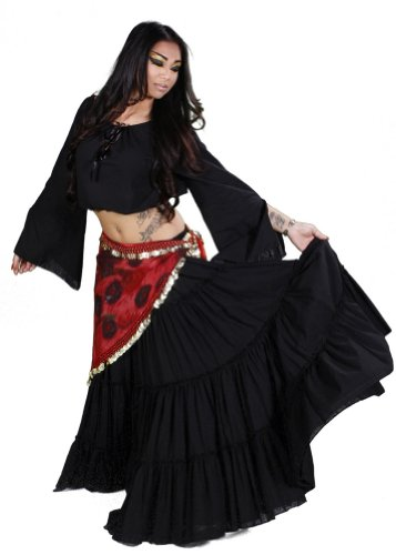 Belly Dance 25 Yard Skirt, Top & Peacock Hip Scarf Costume Set | Droma and Drum