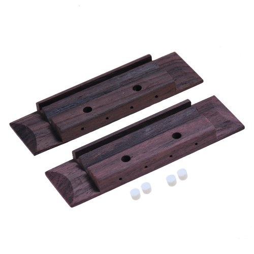 2Pcs Rosewood Ukulele Bridge For Soprano Concert Tenor 4 String Ukulele Guitar