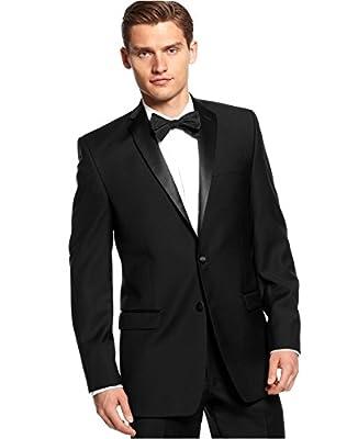 Calvin Klein Slim-Fit Black Solid Wool 2 Button Flat Front New Men's Tuxedo Suit