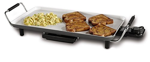 Oster CKSTGR18WC-ECO DuraCeramic Electric Griddle, 10.5 by 18.5-Inch, White