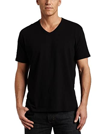 Spring+Mercer Mens V-Neck Tee,Black,Medium