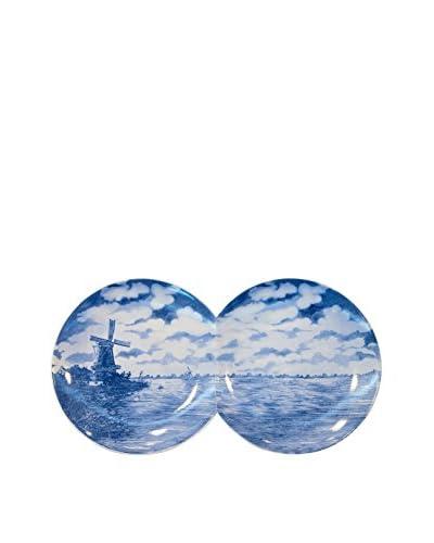 Seletti 2-Multidish Porcelain Plate, Blue