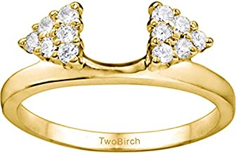 10k Gold Double Shared Prong Solitaire Ring Guard Enhancer with Charles Colvard Created Moissanite 0