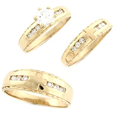 14ct Yellow Gold White CZ Trio Delicate Cross Wedding Engagement Rings