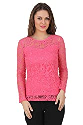 Texco full sleeve floral pattern sheer pink lace top