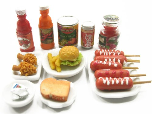 Dollhouse Miniature Fast Food Fried Chicken Hamburger Toast Jam Ceramic Set - 6657