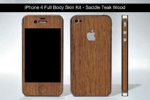 Iphone 4 Saddle Teak Wood (Wood Series) Full Body Skin Kit