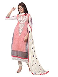 STYLE N DEAL Women's Cotton Chanderi Unstitchced Dress Material (142D3042_Pink_Free Size )