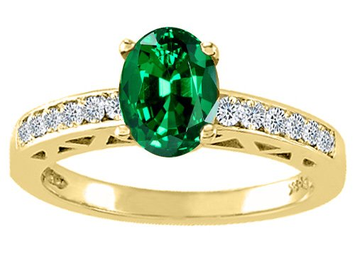 Tommaso Design(tm) Oval 8x6mm Simulated Emerald And Diamond Solitaire Engagement Ring
