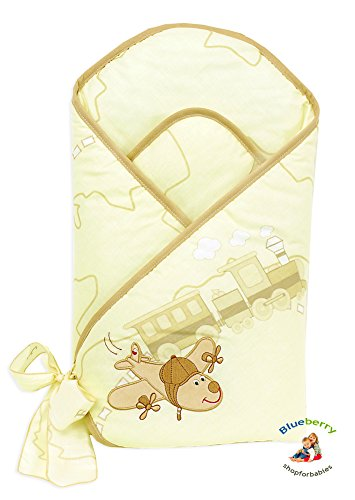 Blueberry Shop Premium Collection Swaddle Wrap Blanket Gift Present Cream Plane - 1