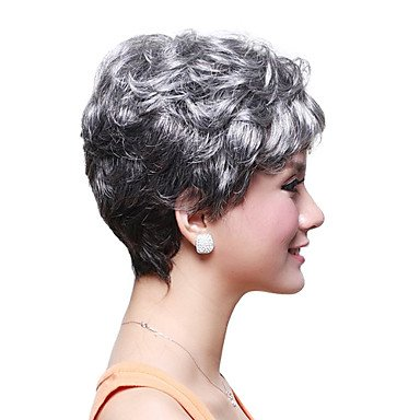 HI GIRL Style Fashion White Grey Short Old Women's Hair Full Wig Free #2 by wig