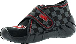 Befado Boys Freddy Velcro Slippers - Made In Europe,Black/Gray/Red,20