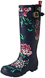 Joules Women\'s Wellyprint Rain Boot, Navy Floral, 8 M US