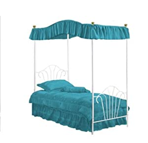 New twin white metal canopy bed set with for Turquoise bed frame