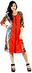 vogue4all Women's Georgette Tunic Dress (Red, Large)