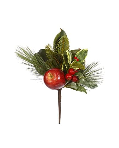 Winward Handcrafted Apple Holiday Pick, Burgundy/Green, 14