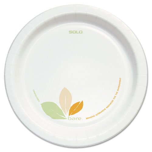 """SOLO Cup Company Bare Clay-Coated Paper Dinnerware, Plate, 8.5"""", Green/Tan, 125/Pack, 2 Packs - Includes two packs of 125 plates each."""