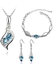 Nakabh Crystal Combo Jewellery Of Pendant Necklace Set With Earrings & Bracelet For Girls And Women