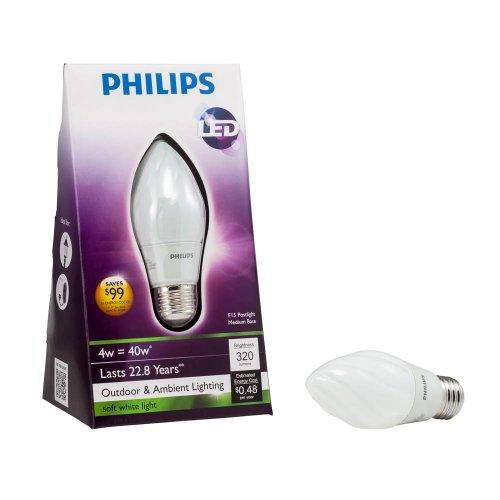 Philips 423772 4-Watt (40-Watt) F15 LED Post Light 2700K Light Bulb, Soft White