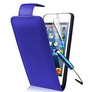 Supergets® Schlichte Einfarbige Hülle für Apple iPod touch 5 / 5G 5th Generation Handytasche in Lederoptik Etui Klappschale Flip Case, Mit Schutzfolie, mini-Eingabestift ( Nicht geeignet für Apple iPod touch 4 oder Apple iPhone 5)