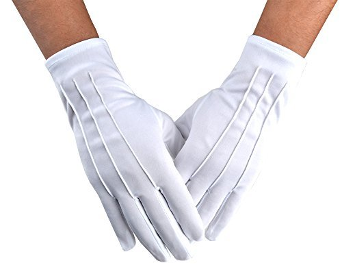 Jishen Men Police Formal Tuxedo Honor Guard Parade White Nylon Cotton Gloves 26cm