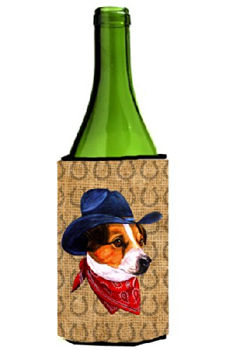 Jack Russell Terrier Lucky Horseshoe Wine Bottle Beverage Insulator