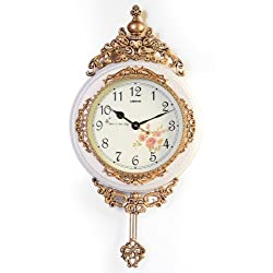 Fabulous Antique Decorative 24X15 Polyresin Hand-Painted Wall Clock w/Swinging Pendulum - White & Bronze