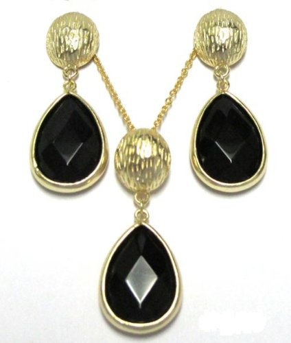 Graduated Textured Teardrop Black CZs 18k Yellow Gold Overlay Dangle Drop Pierced Earrings and Necklace Pendant Set