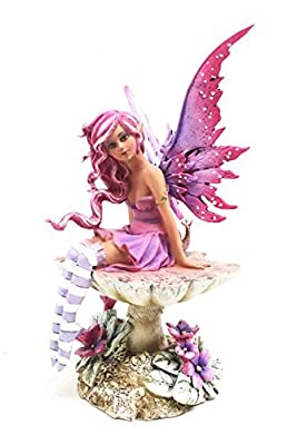 Amy Brown Gothic Manga Magenta Inverted Mushroom Fairy Sculpture Figurine Whimsical Wild Forest