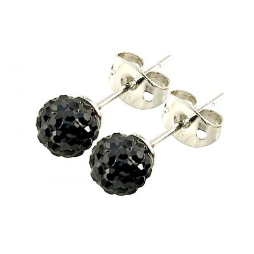 Tresor Paris 'Breel' Black Crystal Earrings