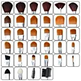 34 pcs Professional Cosmetic Make up Brush Kit Set Bag