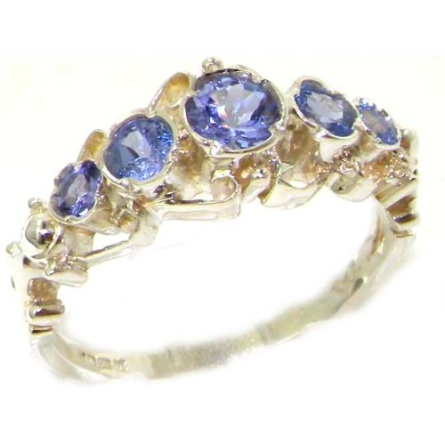 Solid White Gold Genuine Natural Tanzanite Ring of English Georgian Design - Size 9.25 - Finger Sizes 5 to 12 Available