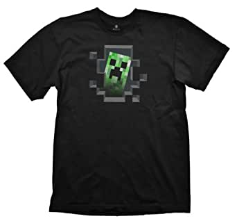 Official KIDS T Shirt MINECRAFT Black CREEPER INSIDE Blocks Age 7-8