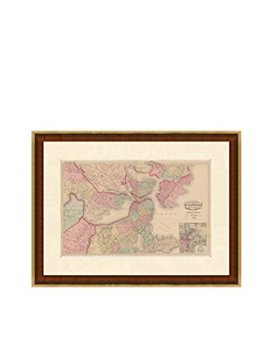 Map Antiquities Antique Map Of Boston & The Adjacent Cities & Towns, 1871, Multi