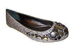 Coach Denisse Lurex Canvas Rhinestone Flat Silver Slipon Shoes 6