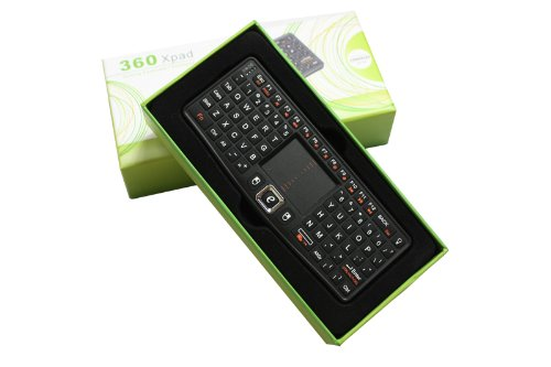 Loftek New Version 360 Xpad Backlight Mini Wireless Keyboard Xbox 360 2.4 Ghz Removable Battery Htpc Ipad with Connection Kits Full Qwerty Keyboard Adjustable Dpi Touchpad for Pc, Apple, Xbox360, Ps3