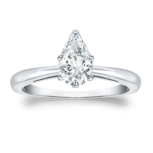 Platinum Pear Diamond Ring V-End Prong (1/2 Cttw, G-H Color, Vs2-Si1 Clarity), Size 9