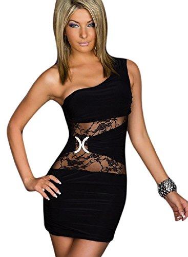 Saphira mode. Sexy Ein Schulter Minikleid mit Spitzeneinsätzen